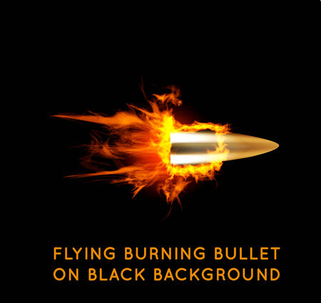 head shot: Flying burning bullet. Illustration on black background