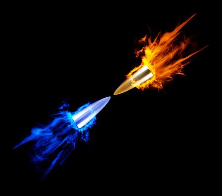 battle evil: Flying burning bullet. Illustration on black background