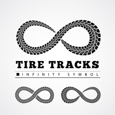 Tire Tracks in Infinity Form. Vector illustration Illustration