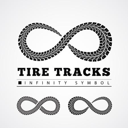 Tire Tracks in Infinity Form. Vector illustration Vettoriali