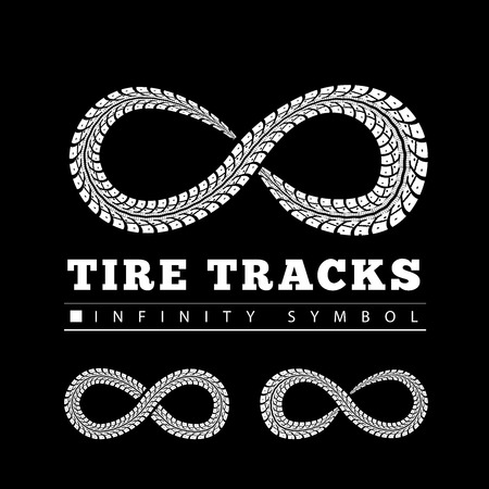 tire tracks: Tire Tracks in Infinity Form. Vector illustration Illustration