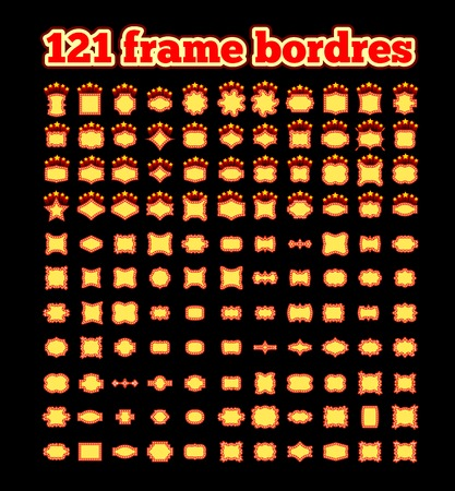 Retro illuminated movie marquee vector set.
