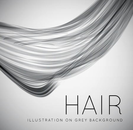 hair cutting: Closeup of long human hair Illustration