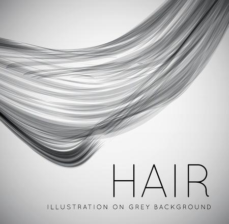 coiffer: Gros plan d'un cheveu humain à long Illustration