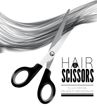 Cheveux et des ciseaux sur un fond blanc