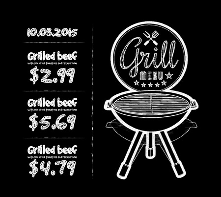 blackboard background: Barbecue grill
