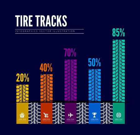 tire tracks: Tire tracks infographics background Illustration