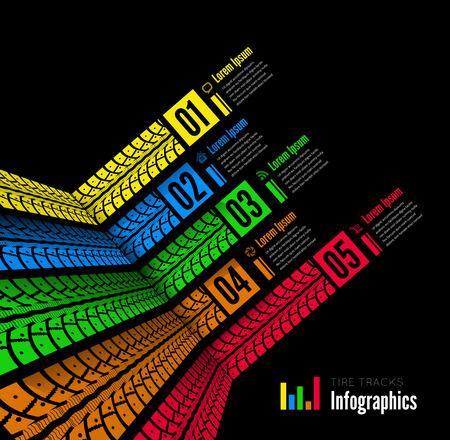 Tire tracks infographics background Vettoriali