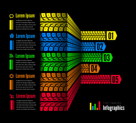 tire: Tire tracks infographics background Illustration