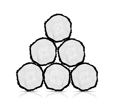 tree ring: Cross section of the trunk, vector illustration Illustration