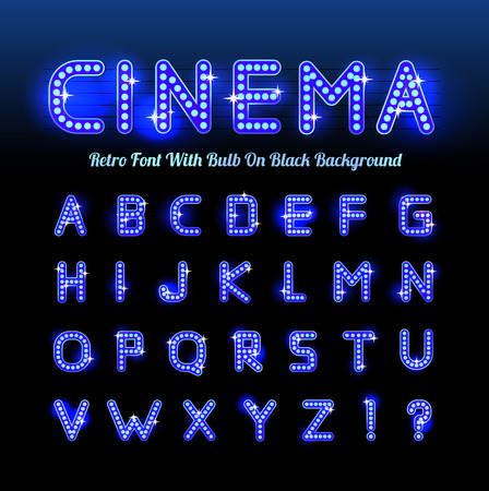 Retro cinema font Stock Illustratie
