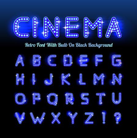 Retro cinema font Vettoriali
