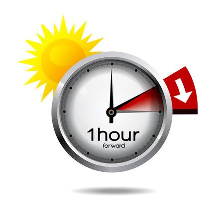 Przełącznik zegar czasu letniego Czas letni Ilustracje wektorowe