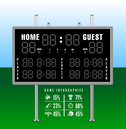 football referee: American football scoreboard with infographics