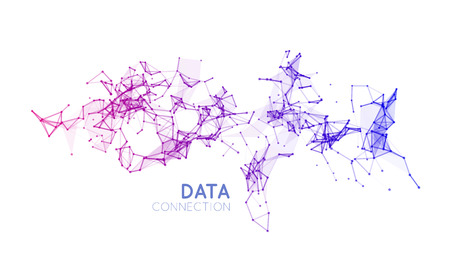 networking: Abstract network connection. Vector technology background on white