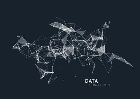 추상 네트워크 데이터 연결. 벡터 기술 배경
