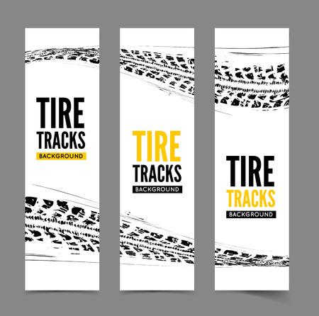 huellas de llantas: Huellas de neumáticos fondo Vectores