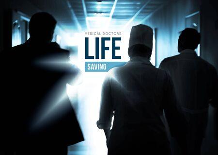 chirurgo: I medici che va rapidamente lungo il corridoio per salvare vite umane