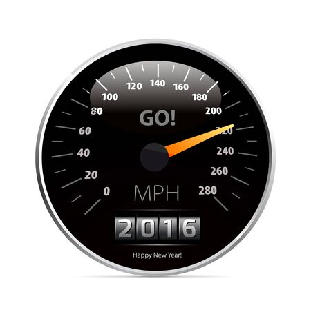 graphic display cards: Calendar 2016 in speedometer car.