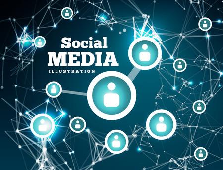 interaccion social: Red social con el punto conectados por líneas. Ilustración vectorial