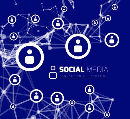 Social network with dot connected by lines. Vector illustration