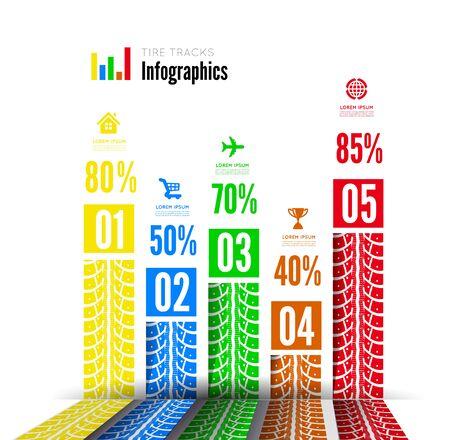 Tire tracks infographics background. Vector illustration on white Illustration