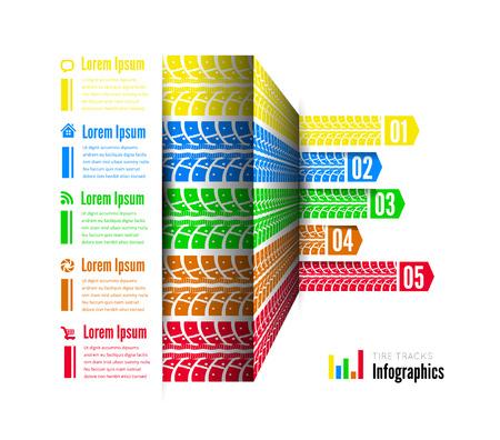 Tire tracks infographics background. Vector illustration on white Vettoriali