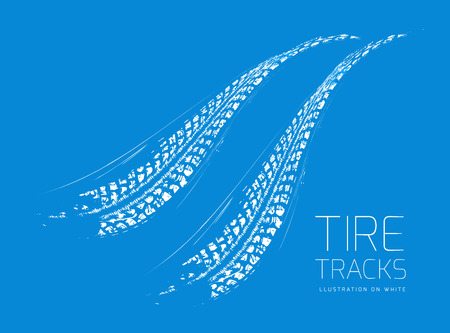 skid: Tire tracks background. Vector illustration. can be used for for posters, brochures, publications, advertising, transportation, wheels, tires and sporting events Illustration