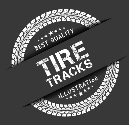 Tire tracks. Vector illustration on dark grey background Stock Illustratie