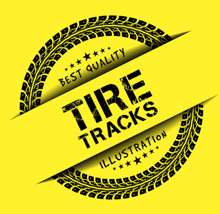 tire cover: Tire tracks. Vector illustration on yellow background