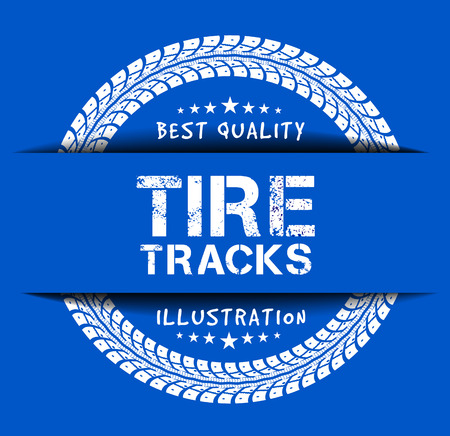 Tire tracks. Vector illustration on blue background Illustration