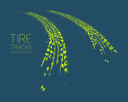 Tire tracks background. Vector illustration. can be used for for posters, brochures, publications, advertising, transportation, wheels, tires and sporting events Vettoriali