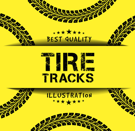 tire tracks: Tire tracks. Vector illustration on yellow background