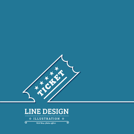 raffle ticket: Vector Vintage Ticket tag outline thin symbol on blue background