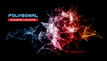 Abstract colorful network data connection. Vector technology background on black Vectores