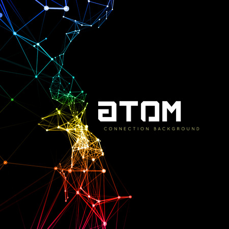 Abstract polygonal space low poly dark background with connecting dots and lines. Connection structure. Vector science background. Polygonal vector background. Futuristic HUD background. Vettoriali