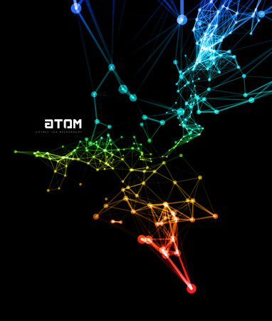 Abstract colorful network data connection. Vector technology background on black Vettoriali