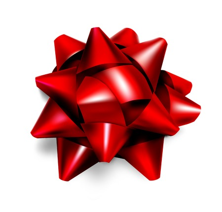 red ribbon bow: Realistic beautiful red bow with light shadow vector illustration