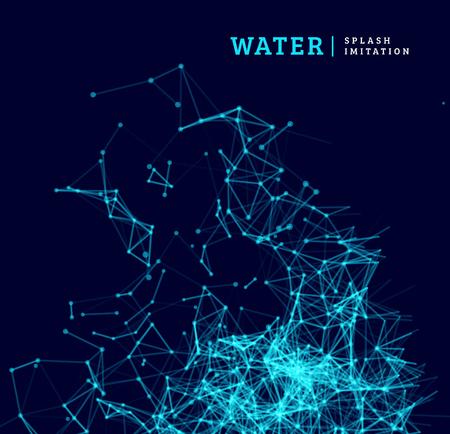 splash de agua: Chapoteo del agua de imitación por punto y conexión de la línea. Ilustración vectorial