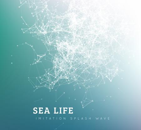 biologia: Las olas del mar por punto y conexión de la línea. Ilustración vectorial verano