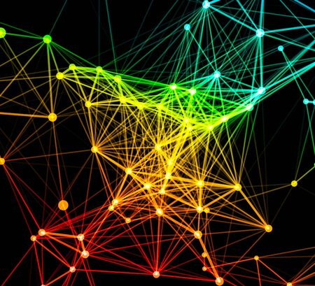 cybernetic: Abstract colorful network data connection. Vector technology background on black Illustration