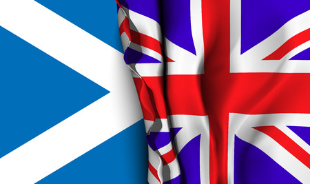 allies: Flag of United Kingdom over the flag of Scotland. Vector illustration that can be used as a concept of trade and political relations between the two countries