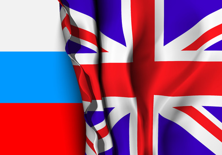 translator: Flag of United Kingdom over the USA flag. Vector illustration that can be used as a concept of trade and political relations between the two countries Illustration