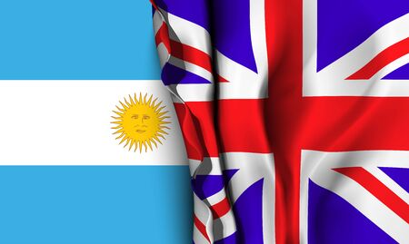 linguist: Flag of United Kingdom over the Argentina flag. Vector illustration that can be used as a concept of trade and political relations between the two countries