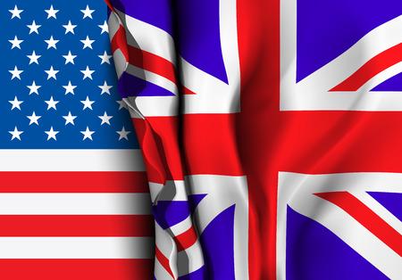 bandera de gran bretaña: Bandera del Reino Unido sobre la bandera EE.UU.. Ilustración vectorial que se puede utilizar como concepto de comercio y las relaciones políticas entre los dos países Vectores