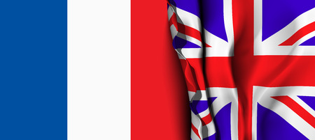 linguistics: Flag of United Kingdom over the France flag. Vector illustration that can be used as a concept of trade and political relations between the two countries
