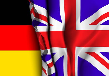 Flag of United Kingdom over the German flag. Vector illustration that can be used as a concept of trade and political relations between the two countries