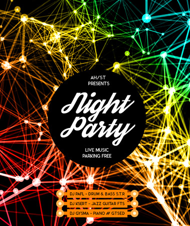 Night Disco Party Poster Hintergrund Vorlage - Vektor-Illustration