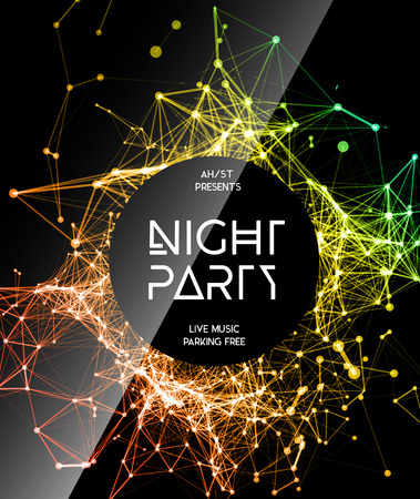 dj party: Night Disco Party Poster Background Template - Vector Illustration