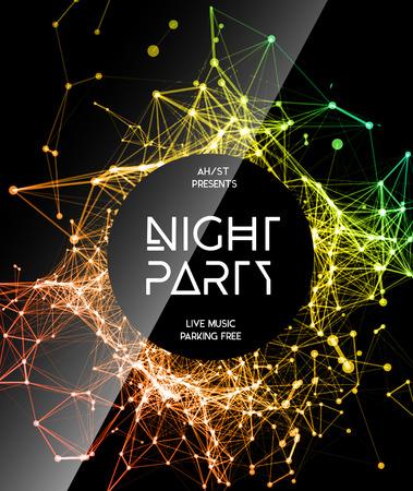 Noche Disco Party Plantilla del cartel de fondo - ilustración vectorial Foto de archivo - 43561301